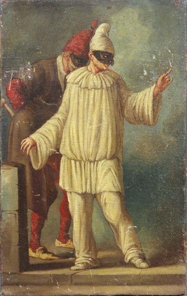 3136: Detail of Comedy Scene, 19th C. Italian, o/c
