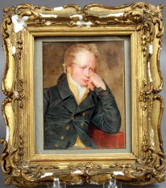 3197: Miniature Watercolor Portrait on Ivory, 1814