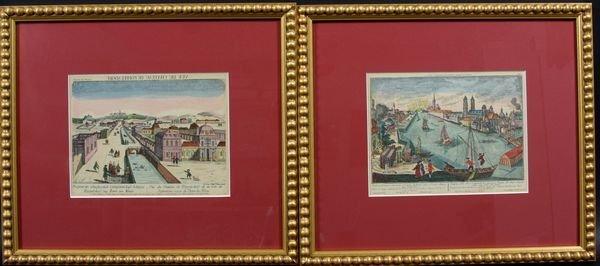 3023: Pair of Canal Scene Engravings