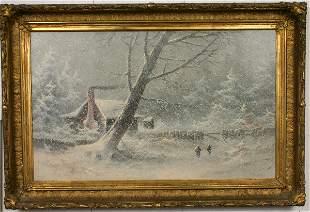 19TH CENTURY C. BONDELL OIL ON CANVAS WINTER SNOW