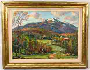 SIGNED WAYNE MORRELL OIL ON BOARD WHITE MOUNTAINS