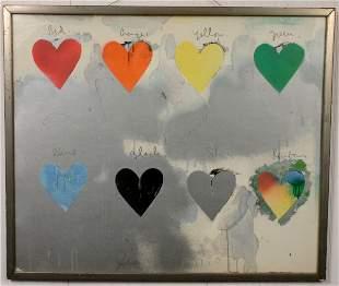 SIGNED JIM DINE ARTIST PRINT HEARTS