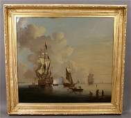 16: SIGNED T. SWAINE OIL ON CANVAS NAUTICAL
