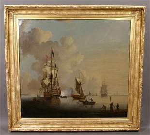 SIGNED T. SWAINE OIL ON CANVAS NAUTICAL