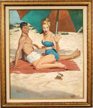 SIGNED FREDERICK BLAKESLEE OIL ON CANVAS BEACH