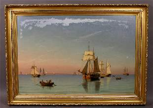 SIGNED CARL BILLE OIL ON CANVAS NAUTICAL