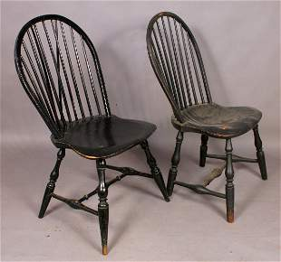 PAIR EARLY 19TH CENTURY WINDSOR BOW BACK CHAIRS