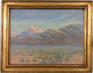 SIGNED FREDRICK BOWER OIL ON CANVAS MOUNTAINS