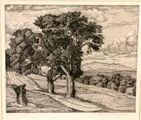 SIGNED LUIGI LUCIONI ETCHING 'TREES AND MOUNTAINS'