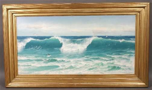 274: SIGNED DAVID JAMES OIL ON CANVAS SEASCAPE