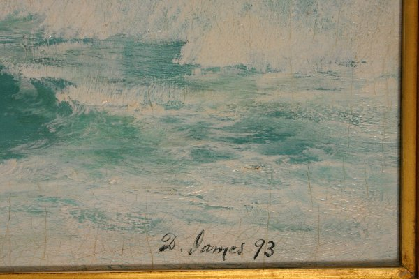 274: SIGNED DAVID JAMES OIL ON CANVAS SEASCAPE - 2