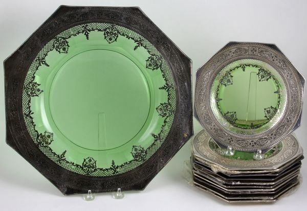 4014: Cambridge Glass Sterling Overlay Green Dishes