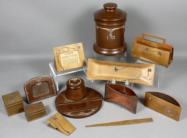 4015: Heintz Sterling on Bronze Desk Set, Humidor, +