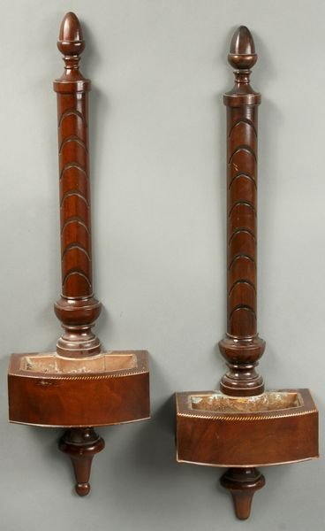 4021: Pair of Early 20thC Mahogany Hanging Planters
