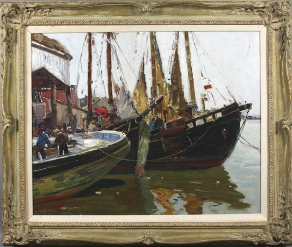 4113: Signed Anthony Thieme, Gloucester Harbor, o/c