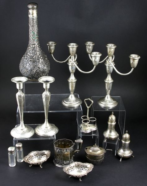 4190: Group of Sterling Candelabra and Candlesticks