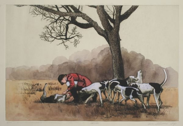 4005: A. Lattimore, Hunter and Dogs, Print 24/150.