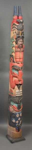 "4003: 20th Century Carved Wood Totem Pole, 70""h."