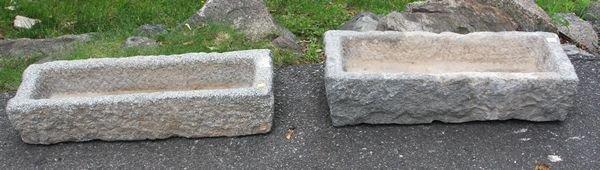 "4006: Two (2) 19th C. Granite Planters, 7""h. x 27""w."