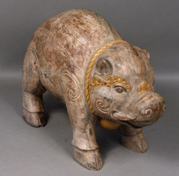 "4009: 19/20th C. Carved Wood Pig, 23""h."