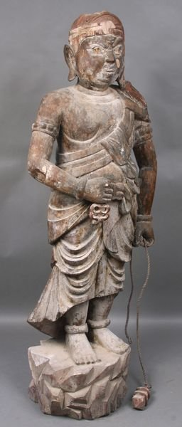 "4011: 18th C. Chinese Carved Wood Warrior, 60""h."