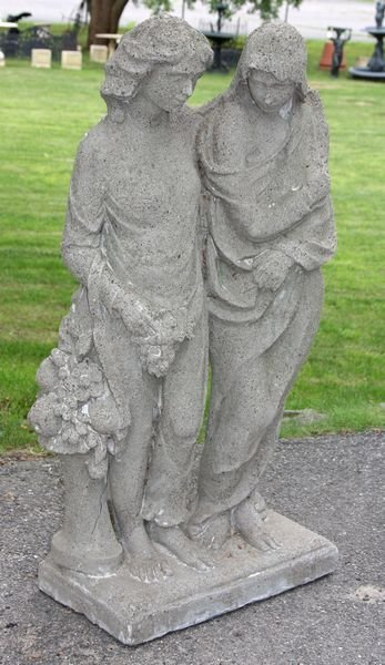 4018: Cement Statue of Man and Woman w/ Flowers