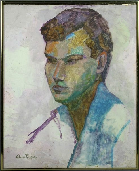 6012: Signed Elsie Rubin, Portrait of A Young Man, o/b