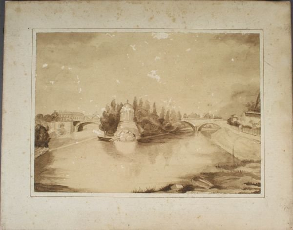 6018: Early French Watercolor of Bridge Dated 1836