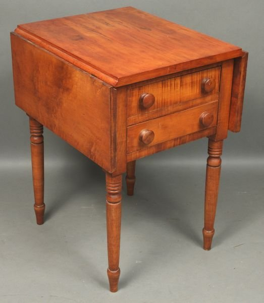 6090: 19th C. Federal Tiger Maple Two-Drawer Stand