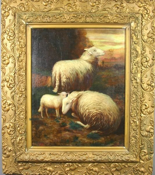 6001: Signed Nisapi, Two Sheep with Lamb, o/c