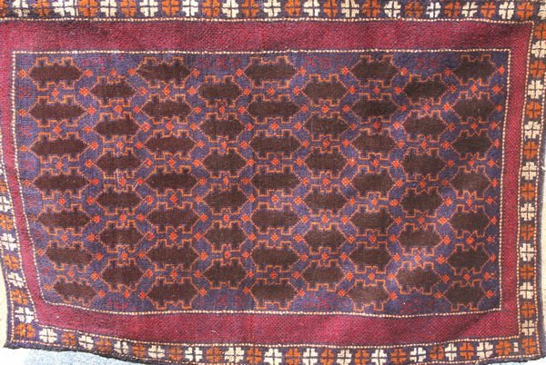 "6002: Handmade Tribal Rug, 4' 3"" x 2'"