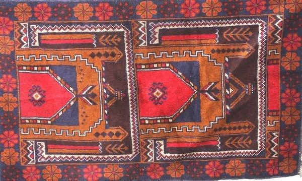 "6005: Handmade Tribal Rug, 4' 5"" x 2' 10"""