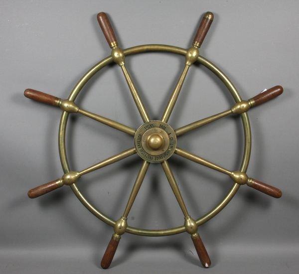 6007: Early 20th C. Brass & Mahogany Ship's Wheel