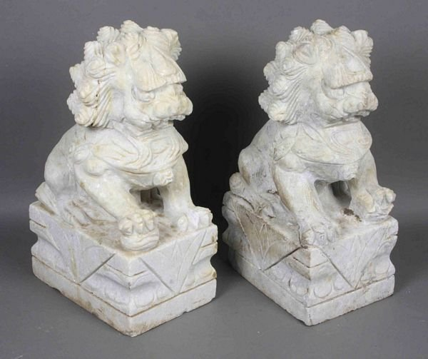 "6021: Pair of Carved Marble Foo Dogs, 12""h."