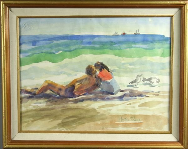 6022: Signed Martha Moore, Beach Scene, w/c