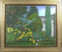 6176A: Signed Joan Kerry, Rocky Neck Garden, Pastel