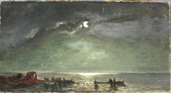6015A: Signed C.B. Smith, Moonlit Fishing Scene, o/c