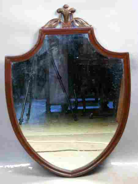 7280: 1920s Federal Shield Style Mahogany Mirror