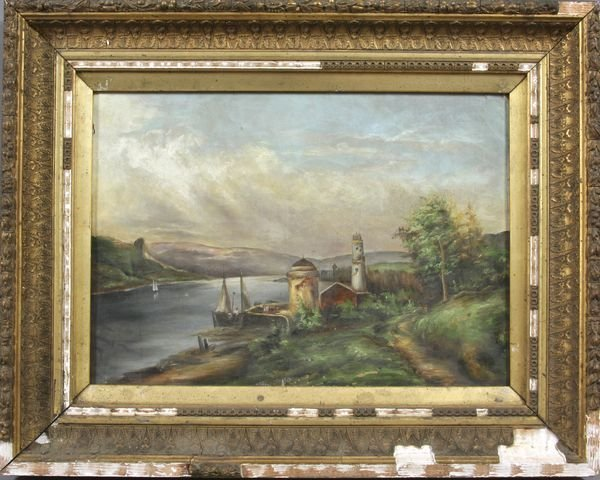 7008: 19th Century Painting, Boats in Landscape, o/c