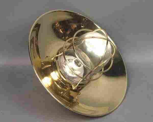 7281: Mid 20th C. Brass Ship's Bulkhead Light