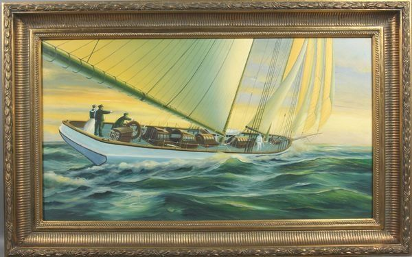 7282: People Sailing on Yacht, O/C, Framed