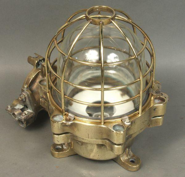 7318: Mid 20th C. Solid Brass Bulkhead Light