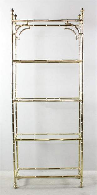 Pair of Mid Century Gold Plated Book Shelves Bamboo