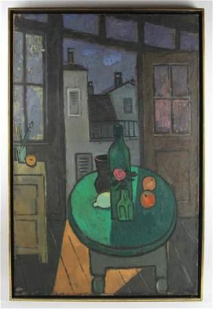 Olga Abt 1958 Window View, oil on canvas