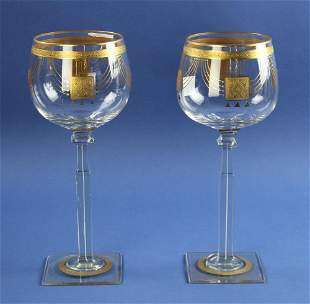 Attributed to Josef Hoffman Moser Glasses