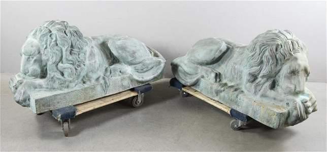 Pair of Reclining Bronze Lions