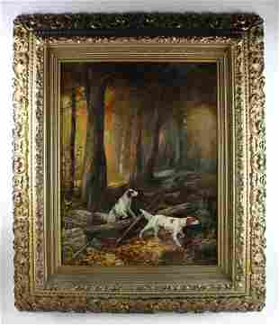 19thC Hunting Dogs Painting Framed