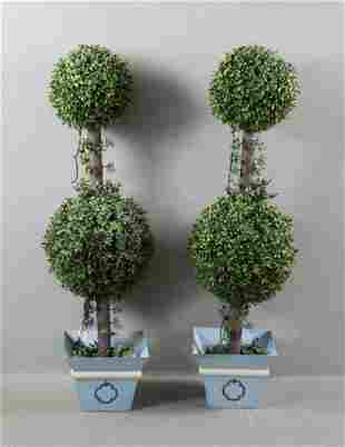 Pair of Faux Topiary Planters