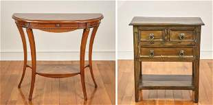 Demilune Side Table and 3-Drawer Stand