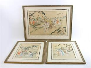 Three Chinese Paintings on Silk Cloth